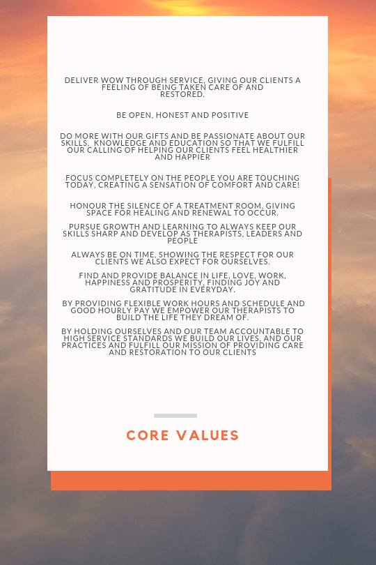 core-values Ultimate Massage Practice- Built on your core values